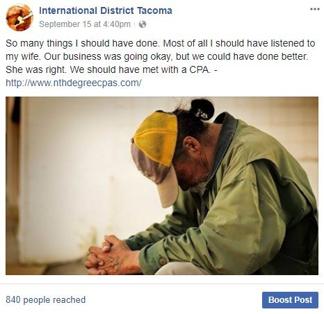Facebook posting sample from FB International District Tacoma.