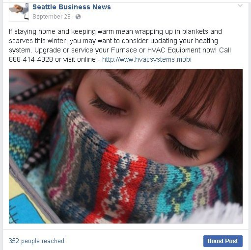 Facebook posting sample from FB Seattle Business News.
